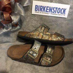 Copper & Silver Snake Skin Birkenstock